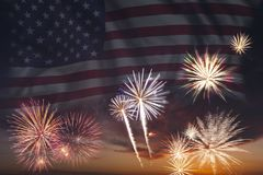 Fireworks and flag of America Stock Photos
