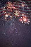 Fireworks and flag of America. Holiday sky with fireworks and flag of America, independence day stock photography