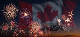 Fireworks and flag of Canada Stock Image