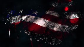 Fireworks Flag matt. This video features a waving American flag being revealed using a fireworks display as a matt against a sky background stock video footage