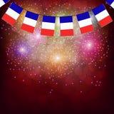 Fireworks with flags France. Illustration. Bright firework with flags France for holidays. Illustration stock illustration