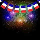 Fireworks with flags France. Illustration. Bright firework with flags France for holidays. Illustration vector illustration