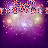 Fireworks with flags United Kingdom. Bright firework with flags United Kingdom for holidays. Illustration royalty free illustration