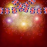Fireworks with flags United Kingdom. Bright firework with flags United Kingdom for holidays. Illustration stock illustration