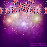 Fireworks with flags United Kingdom. Bright firework with flags United Kingdom for holidays. Vector illustration vector illustration