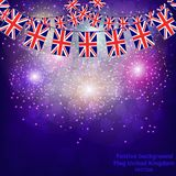 Fireworks with flags United Kingdom. Bright firework with flags United Kingdom for holidays. Vector illustration stock illustration