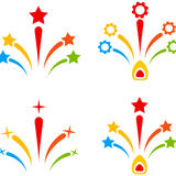 Fireworks Flat Icons. Fireworks flat vector pictogram set. An isolated icons on a white background Stock Photo