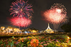 Fireworks in flower garden Stock Photos
