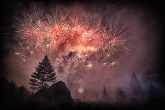 Fireworks in the forest. Fireworks into the forest in the amazing summer night, Waterfall Toce - Piedmont, Italy Royalty Free Stock Photo