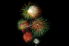 Fireworks. Forth of July Fireworks on Black Background Royalty Free Stock Photos