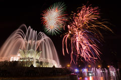 Fireworks and fountain Stock Images