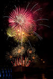 Fireworks on the fourth. Huge Fireworks display in the sky on the fourth of july stock image