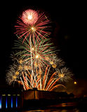 Fireworks on the fourth. Huge Fireworks display in the sky on the fourth of july royalty free stock photo