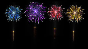 Fireworks fourth of july. Four fireworks colorful explosion pyrotechnic royalty free stock images