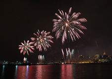 Fireworks on Fourth of July seen from Hoboken riverfront. Royalty Free Stock Image