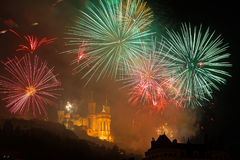 Fireworks on the Fourviere basilica Stock Images