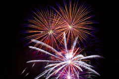 Fireworks. Frame With Pure 100% Black Copy Space Royalty Free Stock Photos