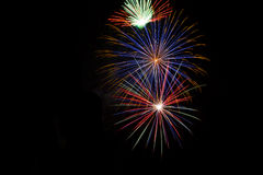 Fireworks. Frame With Pure 100% Black Copy Space Royalty Free Stock Images