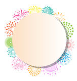 Fireworks frame on white background. Colorful fireworks frame on white background Royalty Free Stock Images