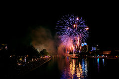 Fireworks in Frankfurt, Germany Royalty Free Stock Photos