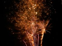 New Year`s fireworks full of glitter. Fireworks full of color and love Royalty Free Stock Photography