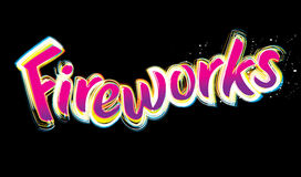 Fireworks fun text. Fireworks text logo against a night sky fun and exciting for party Royalty Free Stock Photo