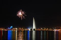 Fireworks with Geneva Fountain royalty free stock image