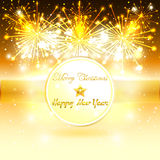 Fireworks and Gold Banner for Christmas Stock Images