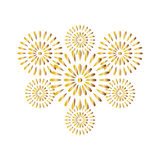 Fireworks gold isolated on white background. Beautiful design for New Year, anniversary celebration and festival Royalty Free Stock Photography