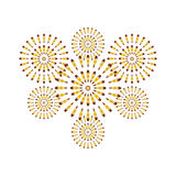 Fireworks gold isolated on white background. Beautiful design for New Year, anniversary celebration and festival Royalty Free Stock Photo