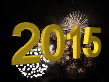 2015 fireworks. 2015 in golden, with fireworks as background Stock Photos