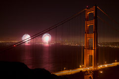 Fireworks and the Golden Gate Bridge Stock Photos