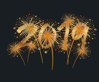 2019 with fireworks. 2019 with golden fireworks and stars stock illustration