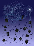 Fireworks at graduation. Thrown graduation caps against a fireworks display background Royalty Free Stock Photo