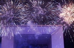 Fireworks at grand arch, France Royalty Free Stock Images