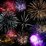 Fireworks Grand Finale. Beautiful fireworks exploding over a dark night sky in a grand finale display.  Very high resolution Royalty Free Stock Photo