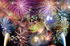Fireworks. Great multicolored Fireworks show with multiple colorful bursts royalty free stock photos