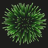 Fireworks green on a black background. Green fireworks on a black background. Celebration, show, boom, isolated objects, vector illustration Royalty Free Stock Photo
