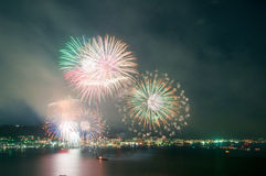 Fireworks in a Green Haze Royalty Free Stock Photo