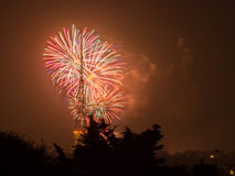 Fireworks on the Guy Fawkes Night. Fireworks over Crystal Palaca transmitting station on the Guy Fawkes Night also known as Bonfire Night, Fireworks Night on the Royalty Free Stock Images