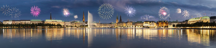Fireworks in Hamburg Stock Photo