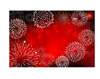 Fireworks and happy new year. 2017 Royalty Free Stock Image