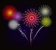 Fireworks and happy new year. 2017 Royalty Free Stock Photo