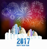 Fireworks and happy new year. 2017 Stock Photography