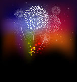 Fireworks and happy new year. 2017 Stock Photos