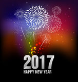 Fireworks and happy new year. 2017 Stock Images