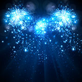 Fireworks happy New Year background Stock Photos