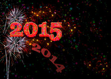 Fireworks Happy New Year 2015 Stock Photos