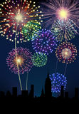 Fireworks Happy New Year city. Fireworks happy New year siluette city night scene Royalty Free Stock Photography