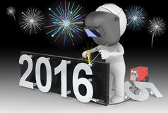 Fireworks and Happy New Year. Dude 3D character The Welder changing number on New Year from 2015 to 2016.  Fireworks on black sky Stock Image